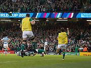 Cardiff, Great Britain, Irelands' subsitute players warming up in the dead ball area, jump to celebrate, Ian MADIGAN's try, during the Quarter Final,  Ireland vs Argentina.  2015 Rugby World Cup,  Venue, Millennium Stadium, Cardiff. Wales   Sunday  18/10/2015.   [Mandatory Credit; Peter Spurrier/Intersport-images]