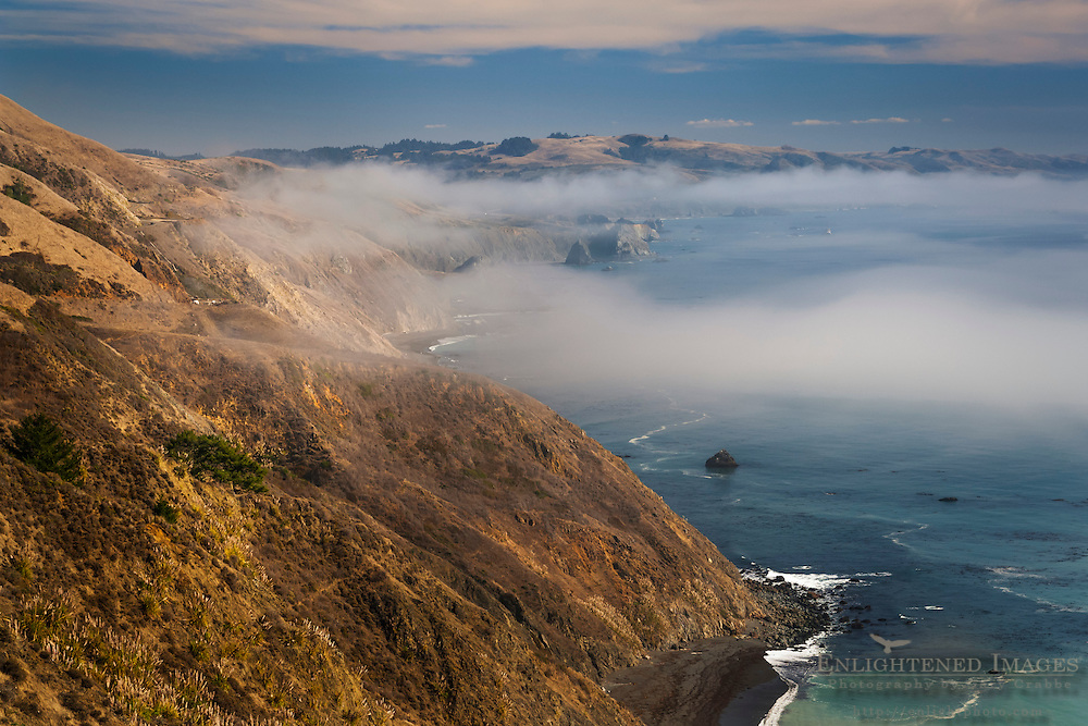 Steep and rugged hills and fog over the Sonoma coast, California