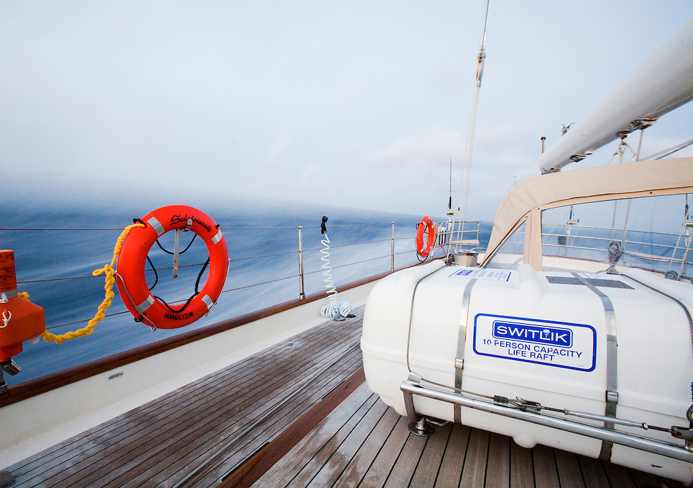 Safety equipment on board a mega yacht while crossing the North Atlantic Ocean from the West Indies to the Azores