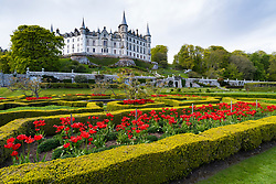 Dunrobin castle on the North Coast 500 tourist motoring route in northern Scotland, UK