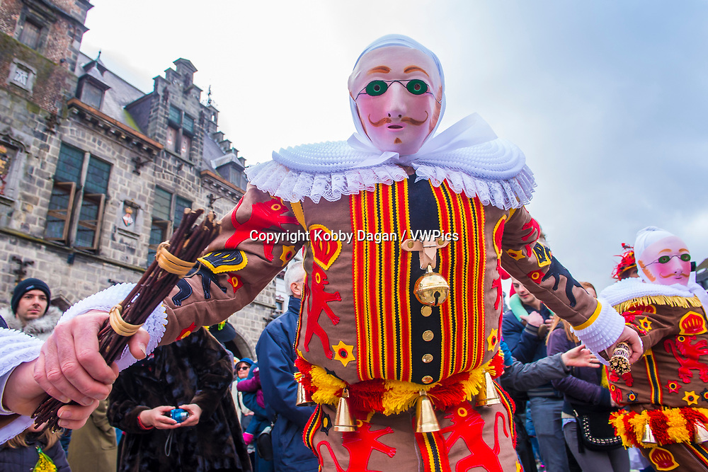 Participant in the Binche Carnival in Binche, Belgium. The Binche carnival is included in a list of intangible heritage by UNESCO.