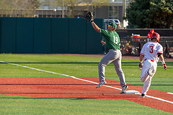 NORMAL, IL - April 08: Martin Vincelli-Simard reaches for a ball while John Rave works to make it to first ahead of the throw during a college baseball game between the ISU Redbirds  and the Sacramento State Hornets on April 08 2019 at Duffy Bass Field in Normal, IL. (Photo by Alan Look)