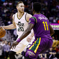 Feb 8, 2017; New Orleans, LA, USA; Utah Jazz forward Gordon Hayward (20) is defended by New Orleans Pelicans guard Jrue Holiday (11) during the second half of a game at the Smoothie King Center. The Jazz defeated the Pelicans 127-94.  Mandatory Credit: Derick E. Hingle-USA TODAY Sports