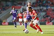 Middlesbrough forward Britt Assombalonga (9)  during the EFL Sky Bet Championship match between Middlesbrough and Stoke City at the Riverside Stadium, Middlesbrough, England on 19 April 2019.