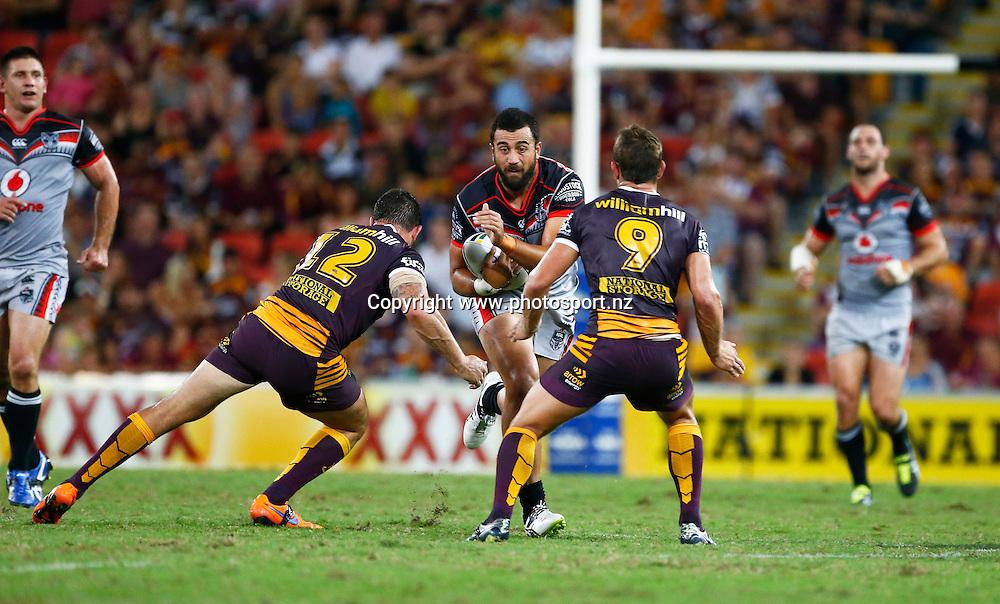 Rugby League NRL - Brisbane Broncos v  New Zealand Warriors , Suncorp Stadium , Brisbane Australia -   11 March 2016<br /> Warriors' Ben Matulino in action<br /> Jason O'Brien / www.photosport.nz