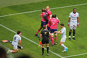 Djibril Camara (Stade Francais) scored a try and celebrated it with Sergio Parisse (Stade Francais), Sylvain Nicolas (Stade Francais) and Will Genia (Stade Francais), Henry CHAVANCY (Racing Metro 92), Brice DULIN (Racing Metro 92), Leone Nakarawa (Racing Metro 92) during the French Championship Top 14 Rugby Union match between Stade Francais Paris and Racing Metro 92 on April 30, 2017 at Jean Bouin stadium in Paris, France - Photo Stephane Allaman / ProSportsImages / DPPI