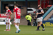 5th May 2018, Dens Park, Dundee, Scotland; Scottish Premier League football, Dundee versus Hamilton Academical; Dejection for Antonio Rojano and Darren Lyon of Hamilton Academical, joy for Cammy Kerr and Kevin Holt of Dundee at full time