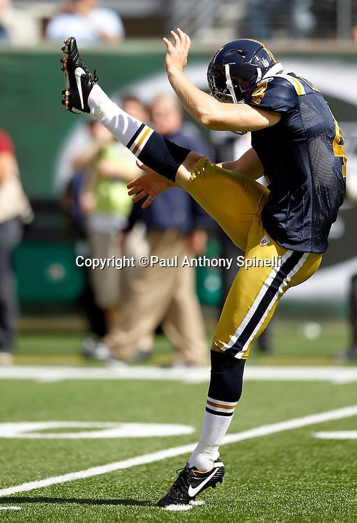 New York Jets punter T.J. Conley (4) punts during the NFL week 2 football game against the Jacksonville Jaguars on Sunday, September 18, 2011 in East Rutherford, New Jersey. The Jets won the game 32-3. ©Paul Anthony Spinelli