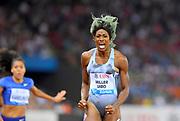 Shaunae Miller-Uibo (BAH) celebrates after winning the women's 200m in 21.74 in the IAAF Diamond League final during the Weltkasse Zurich at Letzigrund Stadium, Thursday, Aug. 29, 2019, in Zurich, Switzerland. (Jiro Mochizuki/Image of Sport)