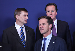 British Prime Minister David Cameron (R, back), Estonian Prime Minister Andrus Ansip (L) and Dutch Prime Minister Mark Rutte pose for the family photo session of an EU summit in Brussels, capital of Belgium,, Feb. 7, 2013. Top leaders of the European Union (EU) have been scheduled for tough negotiations over the bloc s seven-year budget scheme as a two-day summit is to kick off on Thursday afternoon in Brussels, February 7, 2013. Photo by Imago / i-Images...UK ONLY