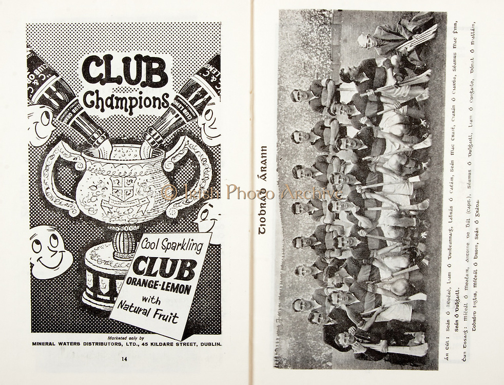 All Ireland Senior Hurling Championship Final,.07.09.1958, 09.07.1958, 7th September 1958,.Minor Galway v Limerick, .Senior Galway v Tipperary, Tipperary 4-09. Galway 2-05,..Advertisement, Club Orange, Club Lemon, Mineral Waters Distributors Ltd,..Tipperary,