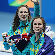 Swimming - Olympics: Day 1  Bronte Campbell, (front), Australia and sister Cate Campbell, at the medal presentation for winning the gold medal in world record time in the Women's 4 x 100m Freestyle Relay Final during the swimming competition at the Olympic Aquatics Stadium August 6, 2016 in Rio de Janeiro, Brazil. (Photo by Tim Clayton/Corbis via Getty Images)
