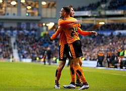 Jordan Graham ( L ) of Wolverhampton Wanderers celebrates with James Henry after his cross is turned in for an own goal by Connor Goldson ( not pictured ) of Brighton and Hove Albion to make it 1-0 - Mandatory byline: Paul Terry/JMP - 07966 386802 - 01/01/2016 - FOOTBALL - Falmer Stadium - Brighton, England - Brighton v Wolves - Sky Bet Championship