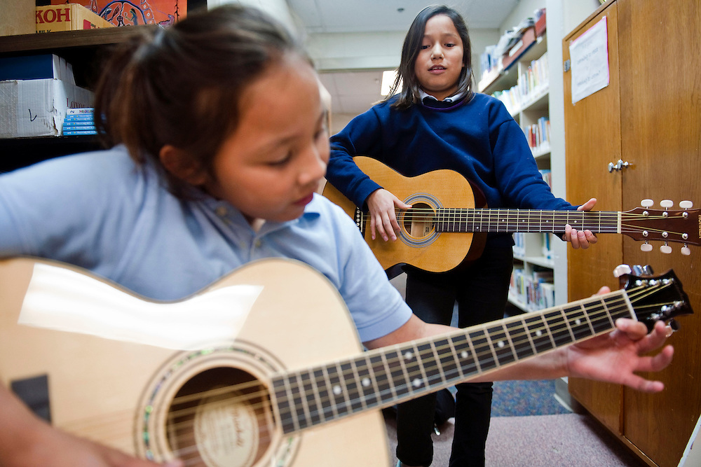 Students play instruments at St. Augustine Indian Mission.