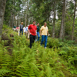 Participants in a community forest workshop in Craftsbury, Vermont. Sponsored by the Community Forest Collaborative and the Vermonit Town Forest Project.  September 8, 2007.  Craftsbury Academy Woodlot.