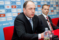 Gabrijel Skof, general manager of Adriatic Slovenica d.d. and Aleksander Ceferin, president of NZS during press conference of Football Association of Slovenia (NZS) on January 22, 2013 in Austria Trend Hotel, Ljubljana, Slovenia. (Photo By Vid Ponikvar / Sportida.com)