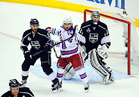 Ishockey , 07 June 2014 Los Angeles Kings defenseman Alec Martinez 27 5300 New York Rangers Right Wing Mats Zuccarello 36  and Los Angeles Kings Goalie Jonathan Quick 32  during Game 2 of The Stanley Cup Final between The New York Rangers and The Los Angeles Kings AT Staples Center in Los Angeles Approx NHL Ice hockey men USA Jun 07 Stanley Cup Final Rangers AT Kings Game 2 <br />