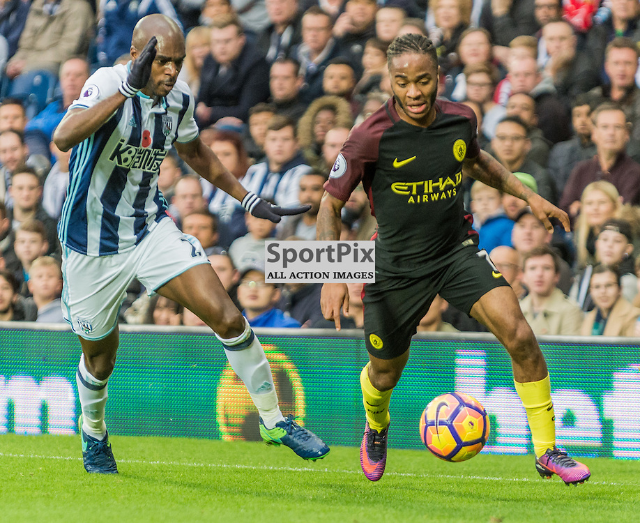 West Bromwich Albion defender Allan Nom (2) and Manchester City midfielder Raheem Sterling (7) challenge for a loose ball in the Premier League match between West Bromwich Albion and Manchester City <br /> <br /> (c) John Baguley | SportPix.org.uk
