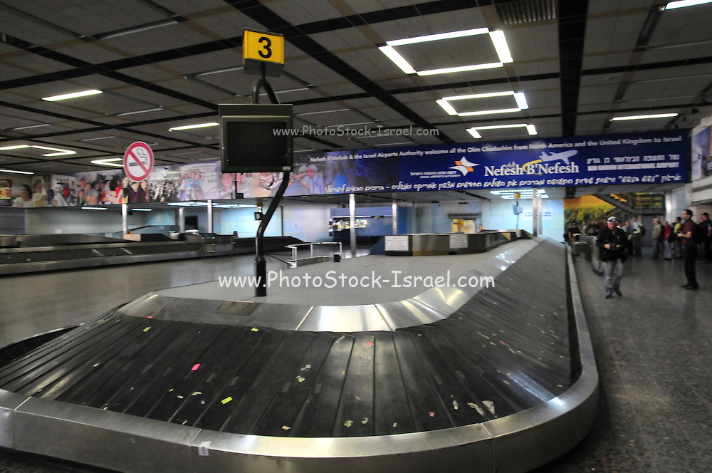 Israel, Ben-Gurion international Airport Cargo transport and baggage loading area Luggage conveyor belt