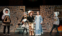 "Cogsworth (Ryan Witham),  Babette (Jacqueline Nash), Lumeire (Taryn Fountain) and Chip (Tyler Brown) invite Belle (Julie Auld) to ""Be Our Guest"" during dress rehearsal for ""Beauty and the Beast"" with Gilford Middle School Tuesday afternoon.  (Karen Bobotas/for the Laconia Daily Sun)"