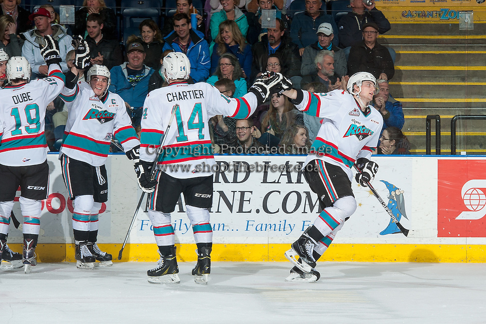 KELOWNA, CANADA - MARCH 11: Tomas Soustal #15  high fives Rourke Chartier #14 of the Kelowna Rockets and celebrates a second period goal against the Kamloops Blazers on March 11, 2016 at Prospera Place in Kelowna, British Columbia, Canada.  (Photo by Marissa Baecker/Shoot the Breeze)  *** Local Caption *** Tomas Soustal; Rourke Chartier;
