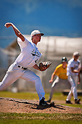 Coeur d'Alene Lumbermen pitcher Jordan Anderson throws towards home during the second inning of Sunday's AA District Championship game against the Lewis-Clark Twins at Post Falls High School.