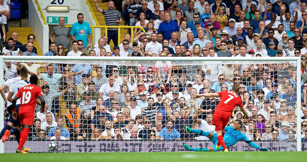 LONDON, ENGLAND - Saturday, August 27, 2016: Liverpool's James Milner scores the first goal against Tottenham Hotspur's goalkeeper Michel Vorm from the penalty spot during the FA Premier League match at White Hart Lane. (Pic by David Rawcliffe/Propaganda)
