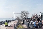 A view of New York Harbor from the terrace behind the Fairway market in Brooklyn's Red Hook.