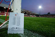 general shot of the stadium and match day programme during the EFL Sky Bet Championship match between Brentford and Derby County at Griffin Park, London, England on 26 September 2017. Photo by Sebastian Frej.