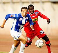 Fotball , <br /> Adeccoligaen , <br /> 08.06.08 , <br /> Sarpsborg stadion , <br /> Sarpsborg Sparta - Sandefjord , <br /> Berat Jusufi Sarpsborg , <br /> Malick Mane Sandefjord ,  <br /> Foto: Thomas Andersen / Digitalsport