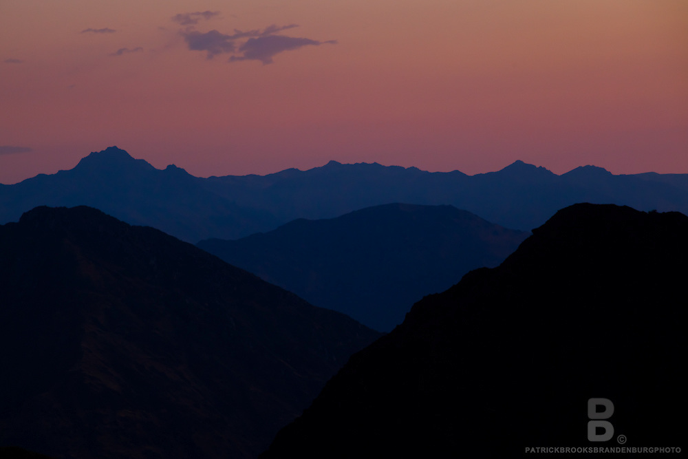 Sunset over mountain peaks in the Cordillera Huayhuash in the Andes Mountains of Peru