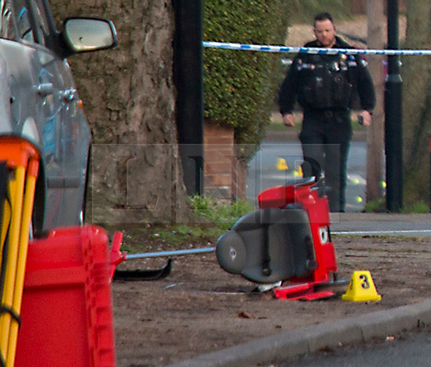 © London News Pictures. 22/02/2018. Coventry, UK.<br /> A Childs toy lies on the pavement by the road at the scene where a toddler has died and his six-year-old brother has been left in critical condition when the pair where hit by a car which failed to stop on MacDonald Road in the Stoke area of Coventry. A 22-year-old man and a 41-year-old woman, who were diving a black Ford Focus, have been arrested. Photo credit: Dave Warren/LNP