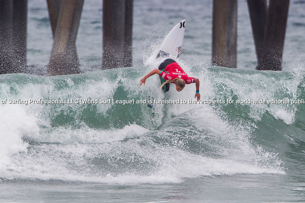 HUNTINGTON BEACH, CA, USA - Wednesday July 29th 2015 -  Lakey Peterson (USA) won her round two heat and advanced into round three at the Vans US Open of Surfing. <br /> Image: &copy; WSL/Rowland<br /> Photographer: Sean Rowland<br /> Social Media: @wsl @nomadshotelsc<br /> This Image is the Copyright of the World Surf League. It is for editorial use only. No commercial rights granted.