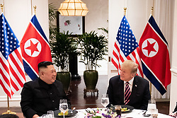 February 27, 2019 - Hanoi, Vietnam - U.S President DONALD TRUMP and North Korean leader and KIM JUNG-UN sit together during a social dinner at the Sofitel Legend Metropole hotel in Hanoi, Vietnam (Credit Image: ? White House/ZUMA Wire/ZUMAPRESS.com)