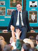 © Licensed to London News Pictures. 13/10/2014. London, UK. Nick Clegg takes questions from the pupils.  The Deputy Prime Minister, Nick Clegg, visits Greenside Primary School in Shepherd's Bush on Monday 13th October 2014 to launch a new campaign called Primary Futures – a new strand of the Inspiring the Future campaign. Photo credit : Stephen Simpson/LNP