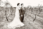 Sepia toned photo of a bride and groom looking over the vineyards towards Seneca Lake on their wedding day at Glenora Wine Cellars, Dundee, NY