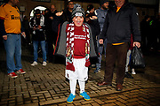 Northampton Town fan before the The FA Cup match between Northampton Town and Derby County at the PTS Academy Stadium, Northampton, England on 24 January 2020.