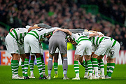 The Celtic huddle before the Europa League group stage match between Celtic and RP Leipzig at Celtic Park, Glasgow, Scotland on 8 November 2018.