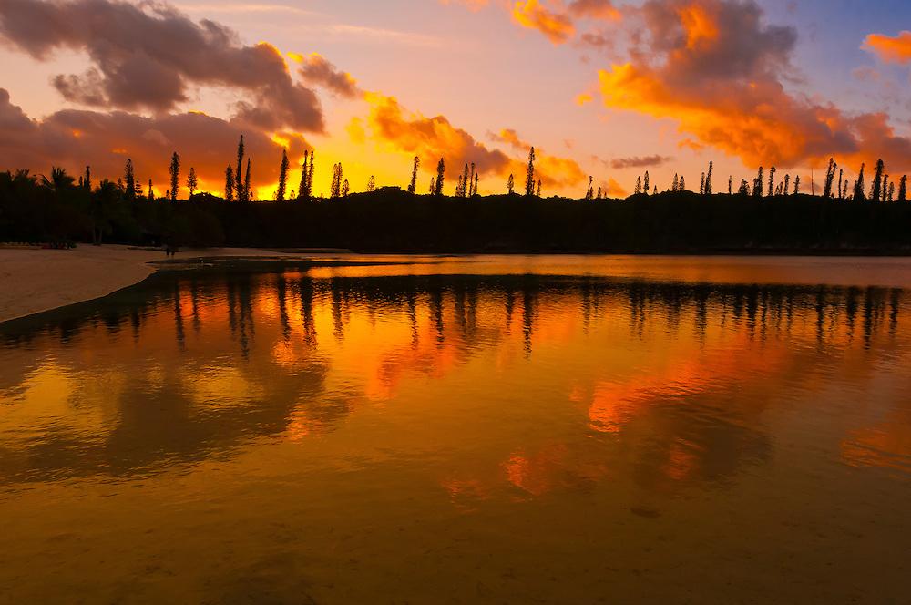 Sunset on the lagoon at Le Mereidein Ile des Pins resort hotel, Isle of Pines (Ile des Pins), New Caledonia.