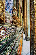 Ornate walls and cloumns of Grand Palace, Bangkok, Thailand