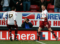 Photo: Tom Dulat/Sportsbeat Images.<br /> <br /> Charlton Athletic v Burnley. Coca Cola Championship. 01/12/2007.<br /> <br /> Burnley's Chris McCann (R) scores second goal. Burnley leads 2-0. Celebrates with him Kyle Lafferty (L)