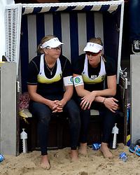 16-08-2014 NED: NK Beachvolleybal 2014, Scheveningen<br /> (L-R) Marleen van Iersel, Madelein Meppelink