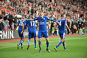 Leicester Citys Jamie Vardy scores to make it 2-2 during the Barclays Premier League match between Southampton and Leicester City at the St Mary's Stadium, Southampton, England on 17 October 2015. Photo by Adam Rivers.