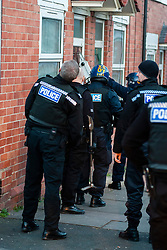 South Yorkshire Police Officers Execute a Warrant at an address in Eastwood Rotherham early on Tuesday Morning<br /> <br /> 04 March 2014<br /> Image © Paul David Drabble <br /> <br /> www.pauldaviddrabble.co.uk