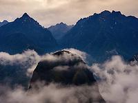 MACHU PICCHU, PERU - CIRCA SEPTEMBER 2019:  View of mountains and mist around Machu Picchu in Peru.