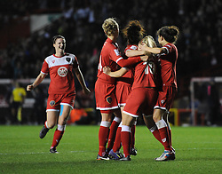 Bristol Academy Womens' Nikki Watts  celebrates with her team mates after scoring. - Photo mandatory by-line: Dougie Allward/JMP - Mobile: 07966 386802 - 13/11/2014 - SPORT - Football - Bristol - Ashton Gate - Bristol Academy Womens FC v FC Barcelona - Women's Champions League