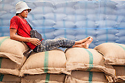 """15 NOVEMBER 2012 - PATHUM THANI, PATHUM THANI, THAILAND:  A worker takes a break on top of bags of government purchased rice in a rice warehouse in Pathum Thani. The Thai government under Prime Minister Yingluck Shinawatra has launched an expansive price support """"scheme"""" for rice farmers. The government is buying rice from farmers and warehousing it until world rice prices increase. Rice farmers, the backbone of rural Thailand, like the plan, but exporters do not because they are afraid Thailand is losing its position as the world's #1 rice exporter to Vietnam, which has significantly improved the quality and quantity of its rice. India is also exporting more and more of its rice. The stockpiling of rice is also leading to a shortage of suitable warehouse space. The Prime Minister and her government face a censure debate and possible no confidence vote later this month that could end the scheme or bring down the government.   PHOTO BY JACK KURTZ"""