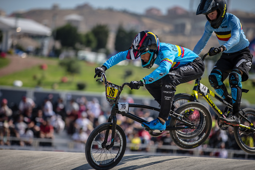 14 Boys #76 (CHAPARRO HEREDIA Juan Pablo) COL at the 2018 UCI BMX World Championships in Baku, Azerbaijan.