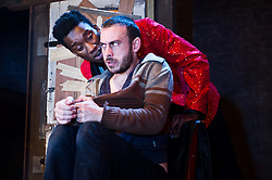 © Licensed to London News Pictures. 30/01/2012. Danielle Tarento presents the 21st anniversary production of The Pitchfork Disney, by Philip Ridley, at the Arcola Theatre. Premiered at London's Bush Theatre in 1991, the play is a barrage of barbaric and magical imagery, gleaming dark comedy, with a catastrophic air of violence and sexual tension. Picture shows Nathan Stewart-Jarrett as Cosmo Disney and Chris New as Presley Stray. Photo credit : Tony Nandi/LNP