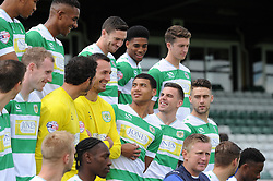 The Yeovil Town players share a joke prior to their team picture - Photo mandatory by-line: Harry Trump/JMP - Mobile: 07966 386802 - 06/08/15 - SPORT - FOOTBALL - Yeovil Town Press Day - Huish Park, Yeovil, England.
